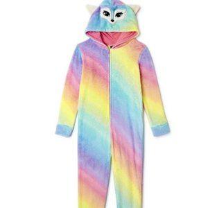 NWT rainbow KITTY CAT 10 12 hood pajamas sleeper